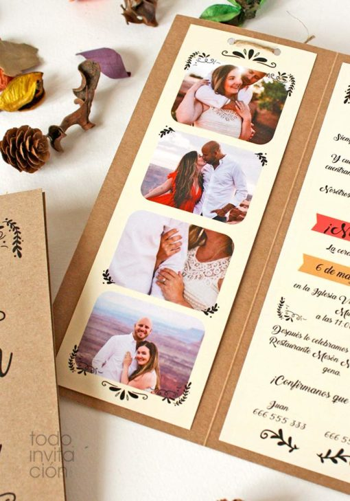 invitacion fotomaton boda original
